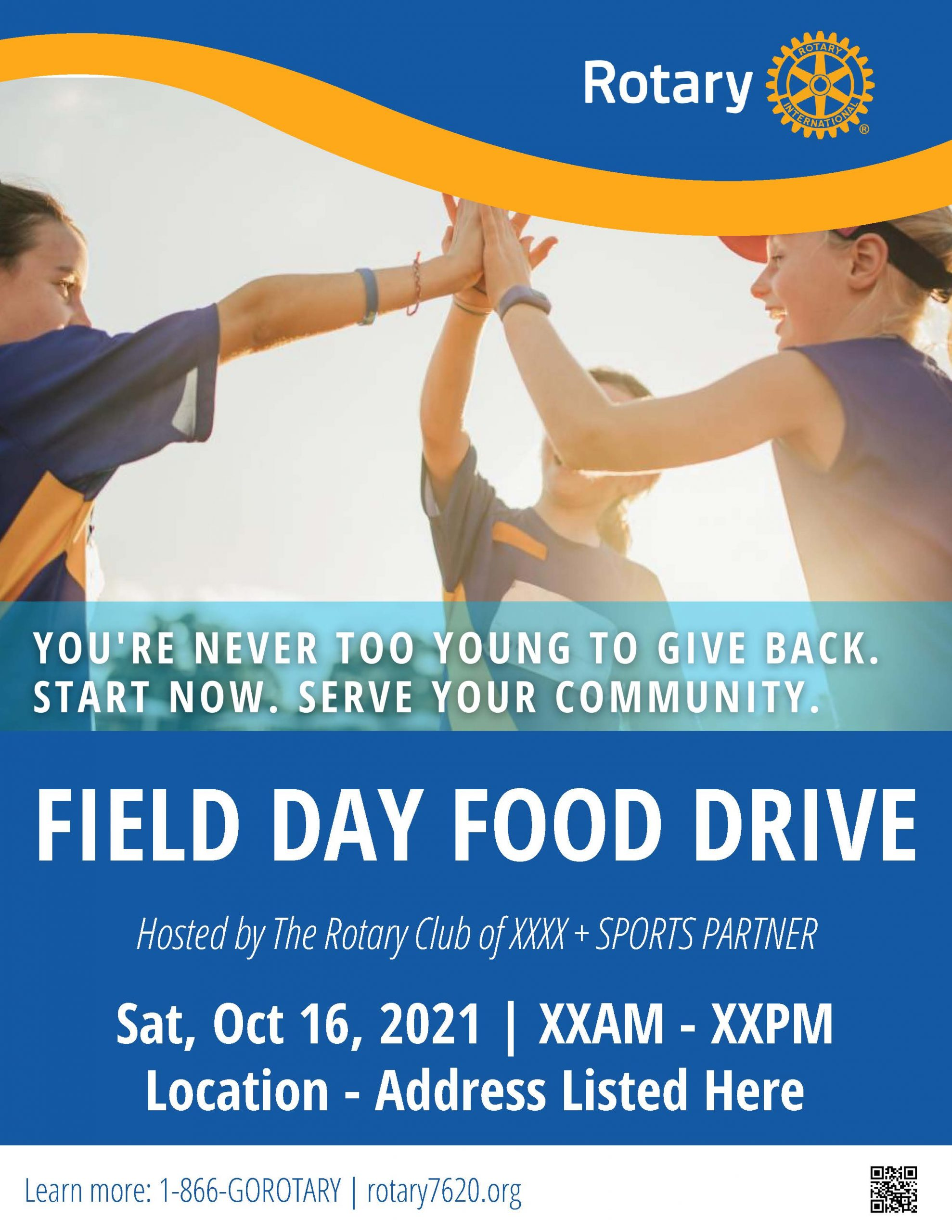 Oct 16 Field Day Food Drive Poster